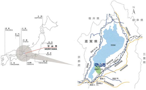 守山市の地図